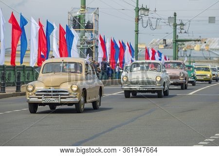 Saint Petersburg, Russia - May 25, 2019: Soviet Retro Car Gaz M-20