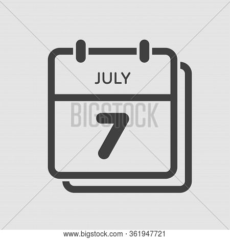 Icon Calendar Day 7 July, Summer Days Of The Year