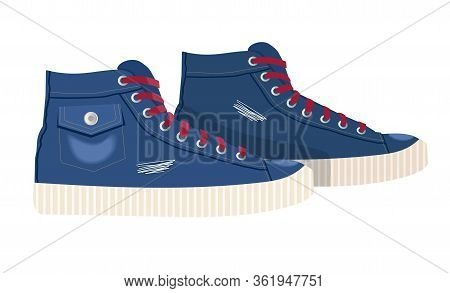 Pair Denim Textile Sneaker With Rubber Toe And Loose Lacing. Vector Illustration. Vintage Blue Sneak