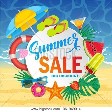 Summer Sale Template Banner. Vector Illustration With Special Discount Offer. Promo Web Banner Templ