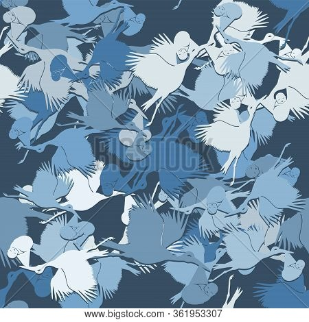 Seamless Pattern Of A Stork Carrying A Baby On A Dark Blue Background. Vector Image Eps 10