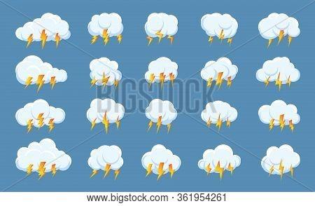 Set Of Lightning Bolt Thunderstorm Cloud Icons. Design Symbol Weather For Web Or App. Sign Logo Stor