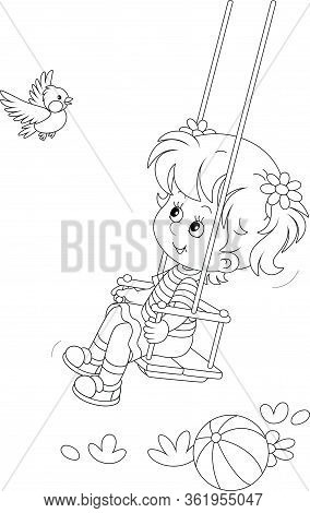 Cheerful Small Girl Swinging And Playing With A Funny Birdie On A Summer Playground In A Park, Black