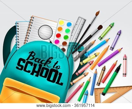Back To School Vector Concept Design. Back To School Text With Colorful School Elements And Educatio