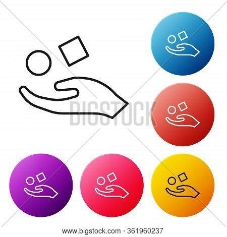Black Line Cube Levitating Above Hand Icon Isolated On White Background. Levitation Symbol. Set Icon