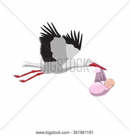 Stork Carrying A Child On A White Isolated Background. Vector Image Eps 10