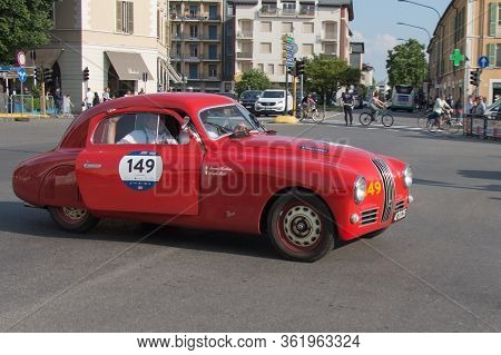 Brescia, Italy - May 19 2018: Fiat 1100 S Mm Berlinetta Gobbone 1947 Is An Old Racing Car In Rally M