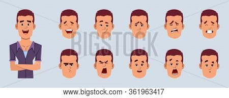 Casual Businessman Cartoon Character With Different Facial Expression Set.  Different Emotions For C