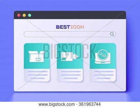 Set Carton Cardboard Box, Carton Cardboard Box And Percent Discount And Laptop Icon. Vector