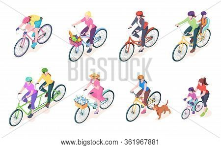 Set Of Isolated Woman Cyclist On Bikes With Baskets. Bike With Women Rider And Flowers, Grocery. Fem