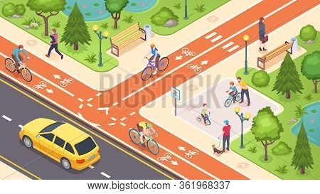 Bicycle Path And Bike Road Lane In City Street, Vector Isometric Illustration. Urban Traffic Road La