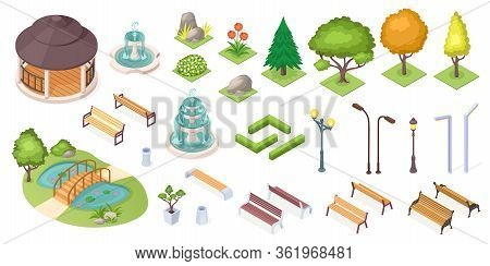 Park Trees And Landscape Elements Set, Vector Isolated Isometric Icons. Park And Garden Landscaping