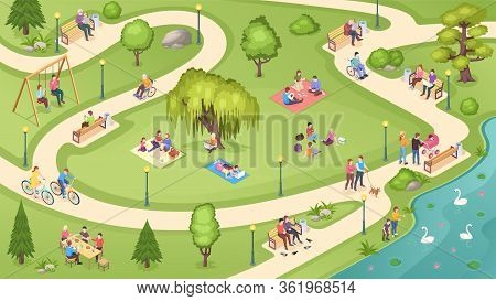 People In City Park, Family Rest, Summer Picnic And Leisure Activity, Isometric Vector Background. P