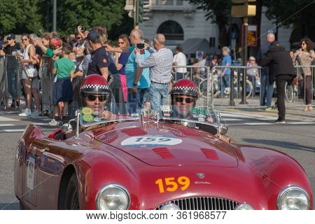 Brescia, Italy - May 19 2018: Cisitalia 202 S Mm Spider 1948 Is An Old Racing Car In Rally Mille Mig