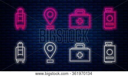 Set Line Location, First Aid Kit, Suitcase And Passport With Ticket. Glowing Neon Icon On Brick Wall