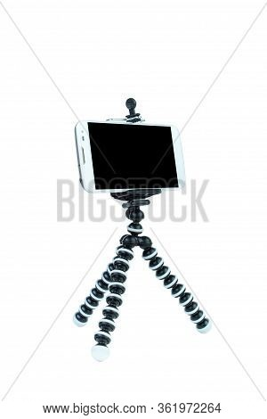 Smart Phone With A Tripod On Isolated White Background.