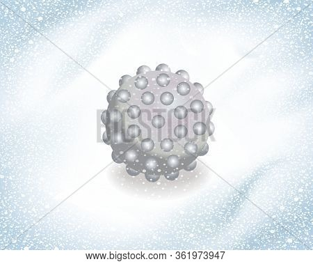 Virus, Germs, Bacterias Live In Snow. Virus Growing On Ice And Snow. Microbes Are Growing In Every C