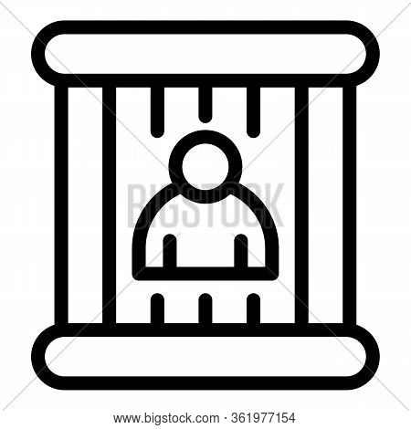 Man Behind Bars Icon. Outline Man Behind Bars Vector Icon For Web Design Isolated On White Backgroun