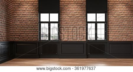 Loft Interior With Brickwall, Wood Panel And Windows. 3d Render Illustration Mock Up.