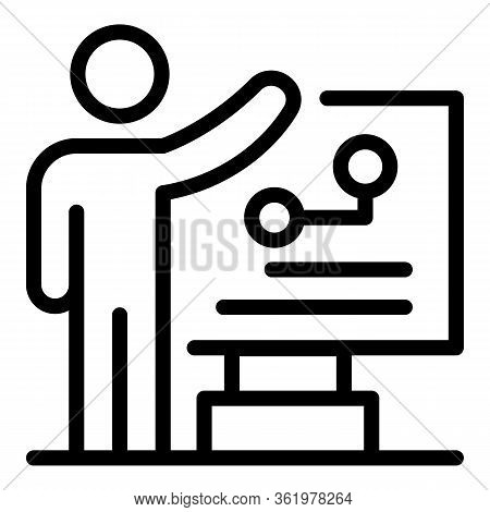 Man Near The Flipchart Icon. Outline Man Near The Flipchart Vector Icon For Web Design Isolated On W