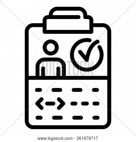 Clipboard With Coding Man Icon. Outline Clipboard With Coding Man Vector Icon For Web Design Isolate