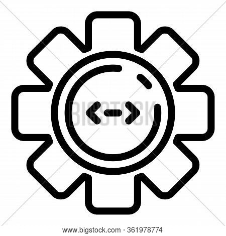 Code In Circle Cogwheel Icon. Outline Code In Circle Cogwheel Vector Icon For Web Design Isolated On