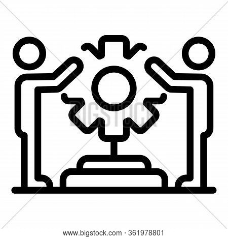 Two Men Holding Cog Icon. Outline Two Men Holding Cog Vector Icon For Web Design Isolated On White B