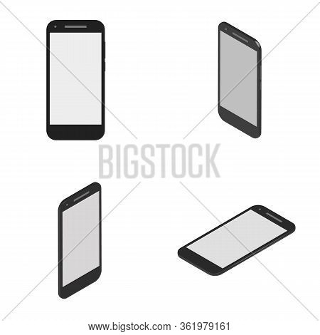 Smartphone Mockups, Isometric Design Styles. Vector Isometrically Cell Phone. Black Mobile Device Wi