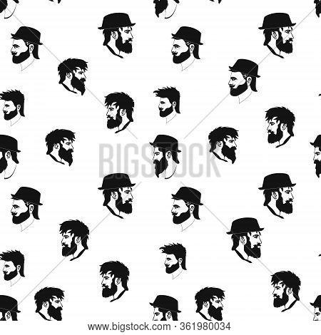 Vector Hipster Seamless Pattern Of Barbershop Icons With Hipster Face In Flat Style. Hairdresser S E