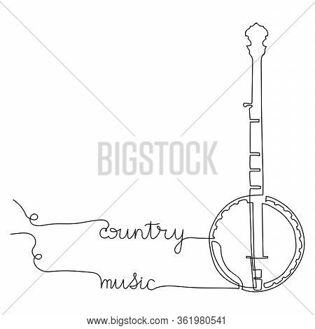 Western Country Music Poster With American Banjo, Continuous Drawing Of A Single Line. Vector Design