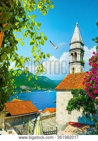 Brajkovic Martinovic Palace In Perast At Bay Of Kotor In Spring, Montenegro