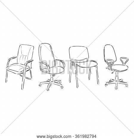 Set Office Chairs Isolated On White Background. Sketch Different Chairs.vector Illustration. Office