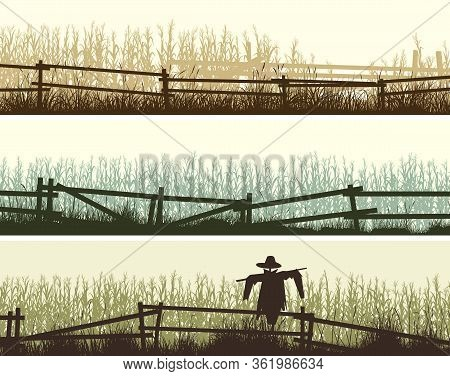 Set Of Horizontal Banners Silhouettes Of Cornfield And Grass In Front Of It With A Wooden Fence.