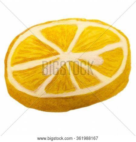 Hand-drawn Round Lemon Slice. Watercolor Doodle Citrus Fruit Isolated On White Background