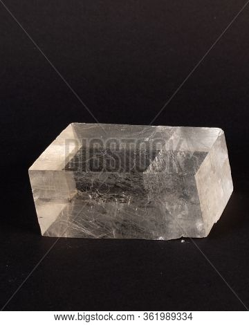 A Large Crystal Of Optical Calcite Showing Faulting Along A Cleavage Plane