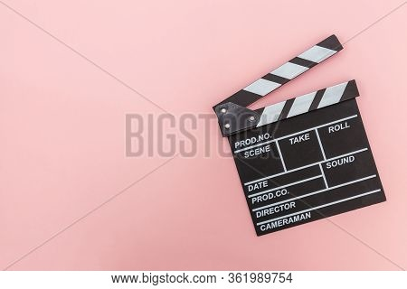 Filmmaker Profession. Classic Director Empty Film Making Clapperboard Or Movie Slate Isolated On Pin