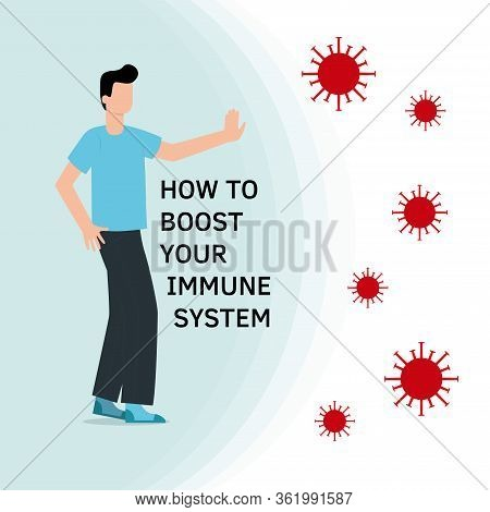 Immune System Boost Vector Illustration. Health Bacteria Virus Protection. Medical Prevention Human