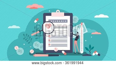 Health Insurance Vector Illustration. Medical Costs Security Support Flat Tiny Persons Concept. Expe