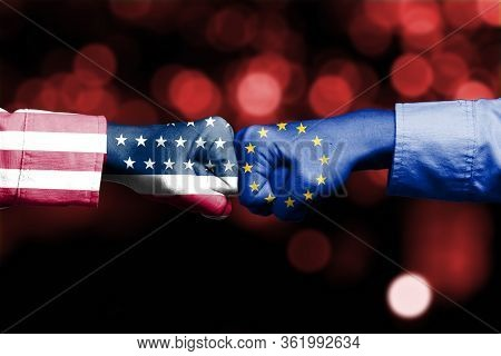 Usa Flag And Eu Flag Print Screen On Two  Fists  For Battle.it Is Symbol Of United States Of America