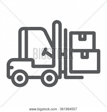 Forklift Truck Line Icon, Logistic And Delivery, Bendi Truck With Boxes Sign Vector Graphics, A Line