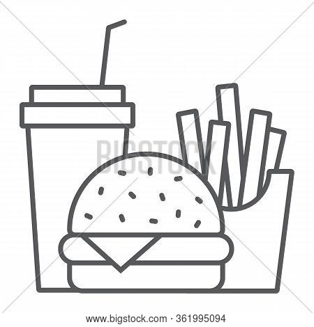 Burger Fries And Soda Thin Line Icon, Fast Food And Delivery, Combo Lunch Sign, Vector Graphics, A L