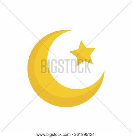 Moon And Stars. Yellow Moon And Stars Isolated On White Background. Ramadan Kareem Concept. Vector S