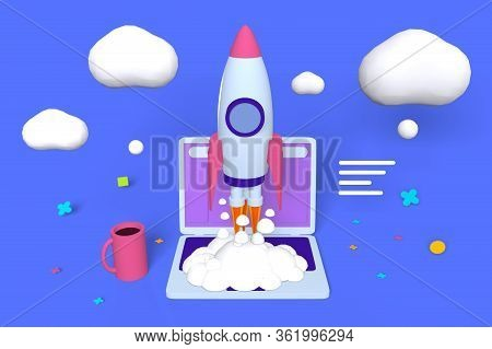 Project, Startup Strategy And Realization Illustration. Launching Rocket 3d Cartoon Design. Clouds L