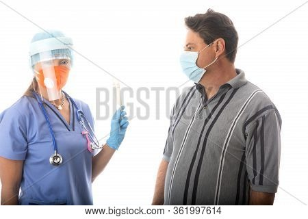 Healthcare Worker In Ppe Holding Sterile Swabs For Nose  And Throat To Test For Respiratory Viruses,