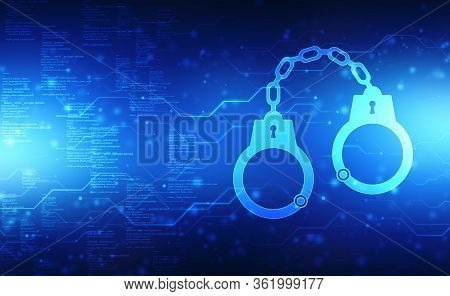 Handcuffs Icon On Digital Background, Cyber Crime Concept, Jail, Crime