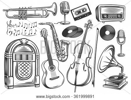 Musical Instruments And Symbols Outline. Microphone, Record, Cassette, Radio, Saxophone And Gramopho