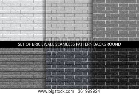 Brick Wall Grey Seamless Pattern Set. Grayscale Gradient Brick Background Textures - Gray, White, Li