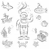 Sketch set of funny cartoon izolated objects on underwater diving theme poster