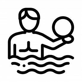 Man And Volleyball Water Ball Icon Vector. Man And Volleyball Water Ball Sign. Isolated Contour Symb