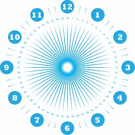Clock Dial Enormous Numbers In Circle Hourly Negative Space On Blue Seconds On Transparent Backgroun